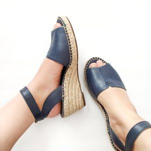 Clarks Artisan Wedge Leather Strappy Sandals Wide